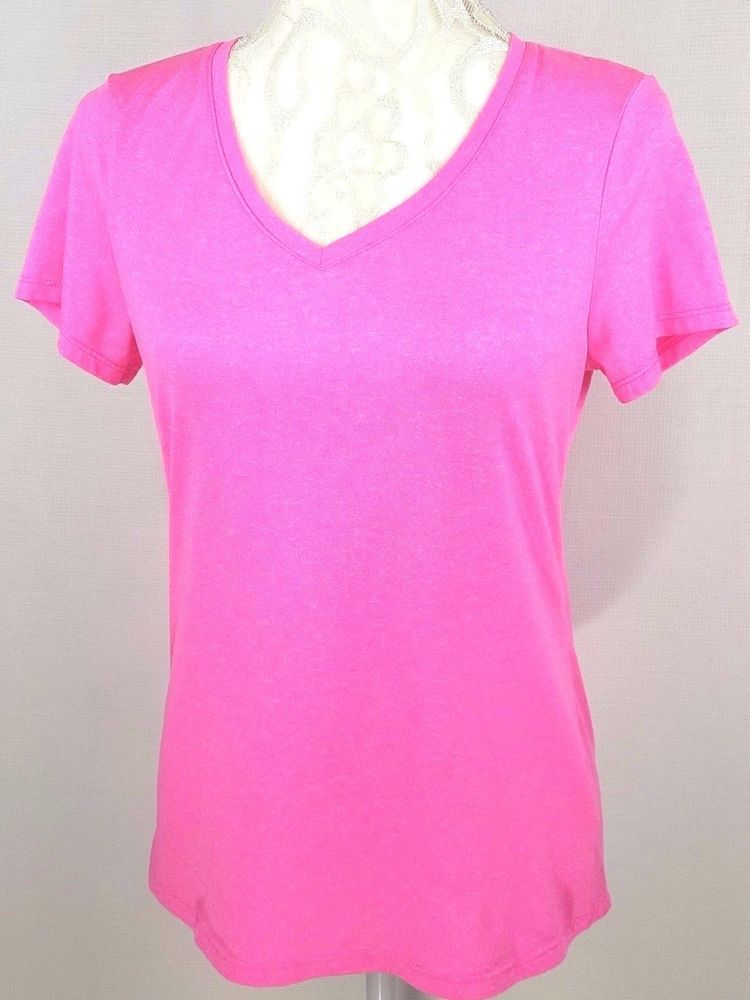5548c2d60418 Performance Quick Dry Womens Top Pink Athletic Sport Shirt V Neck ...