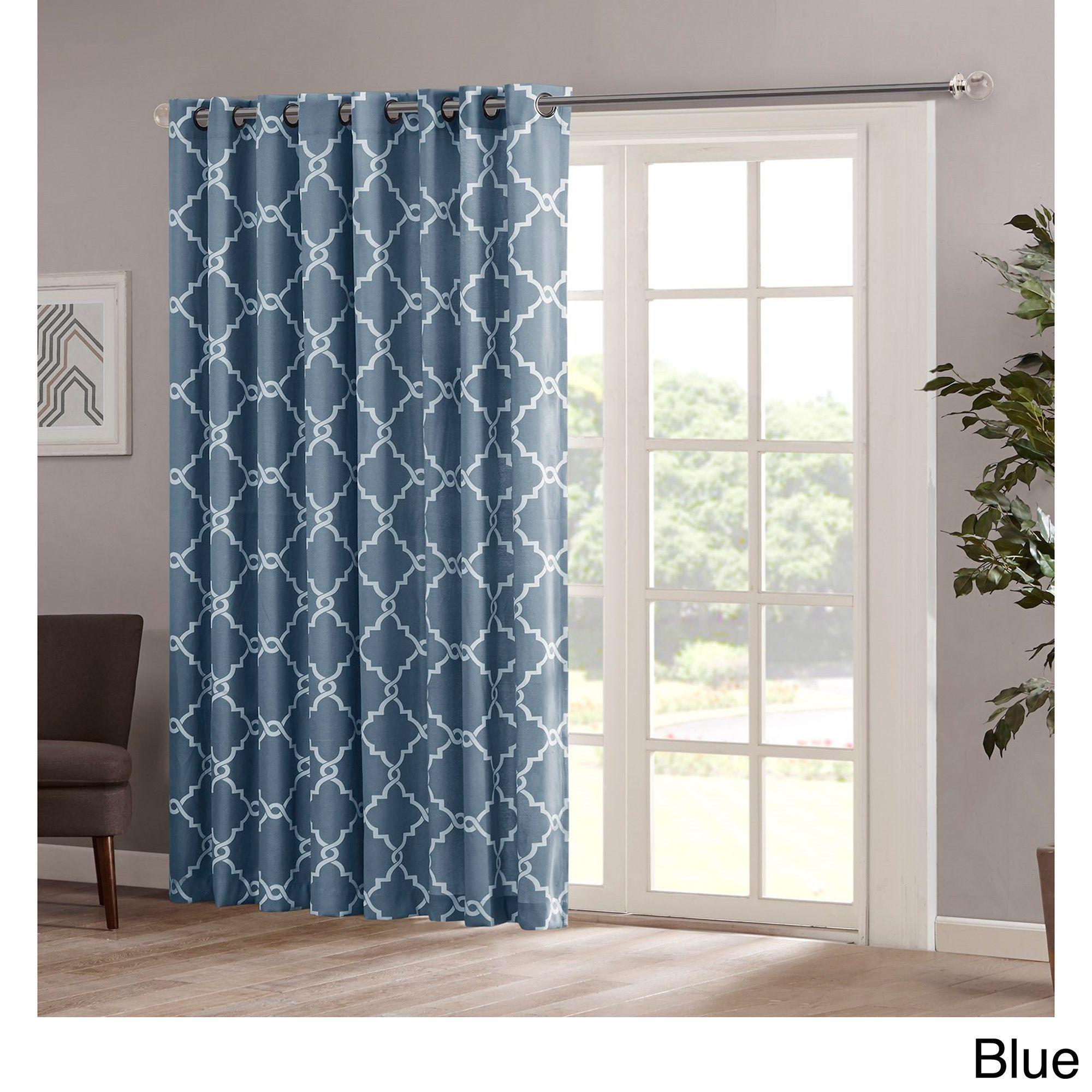 Madison Park Westmont Fretwork Print Patio Window Panel (100x84 Blue),  Beige (