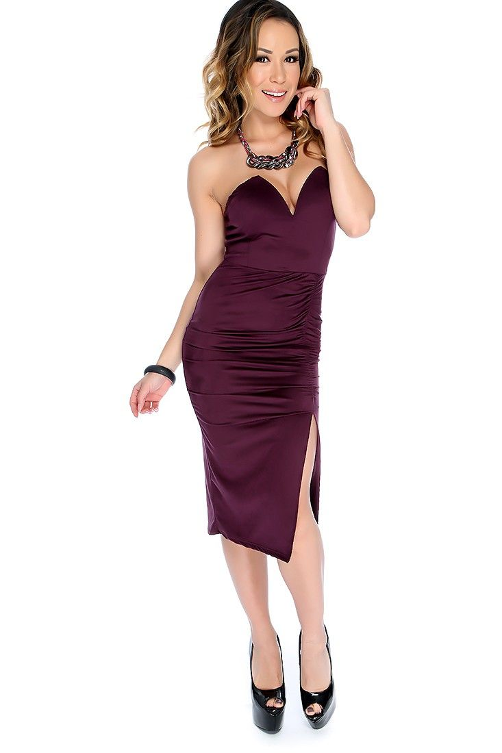 Sexy Purple Strapless Microfiber Suede V-Cut Rouged Leg Slit Party Dress