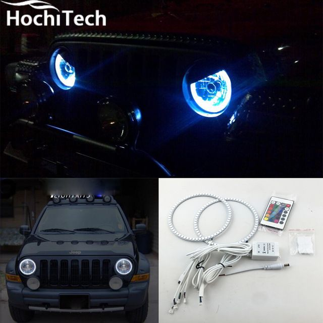 For Jeep Liberty Kj Rgb Led Headlight Halo Angel Eyes Kit Car Styling Accessories 2000 2001 2002 2003 2004 2005 2006 2007 Jeep Liberty Jeep Lights Jeep Wrangler Accessories