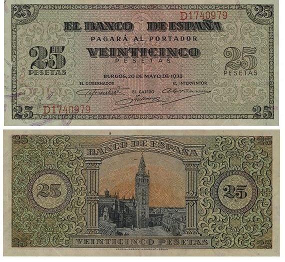 1938 Billete De 25 Pesetas Burgos Papel Moneda Billetes Monedas