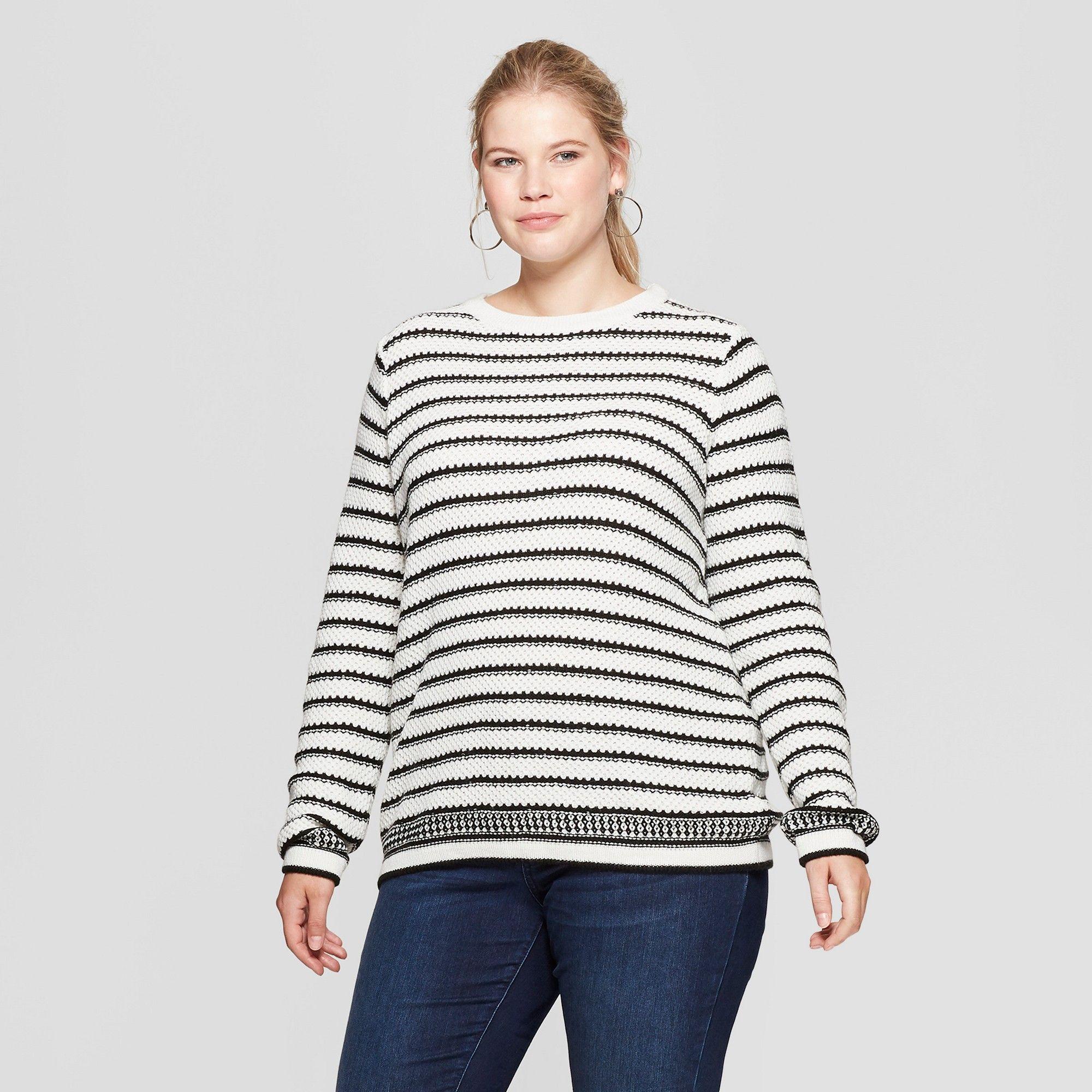Womens Plus Size Striped Pullover Ava Viv Creamblack 1x In