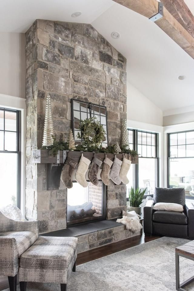 New Homes Home Fireplace Grey Stone Fireplace Home