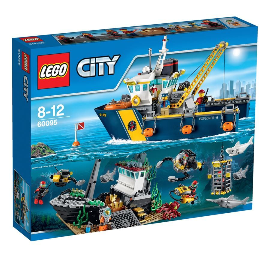 Recover Sunken Treasure With The Lego Deep Sea Exploration Vessel A Shipwreck With A Cargo Of Gold Bars Has Been Spotted Lego City Lego City Sets Sea Explorer