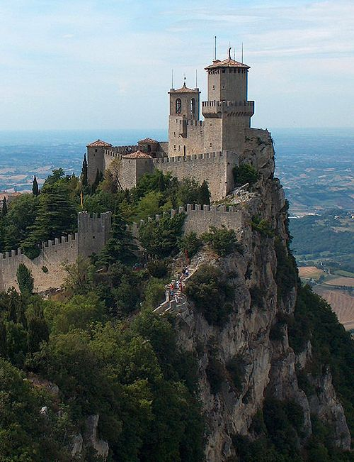 Fortress of Guaita, San Marino.....      http://www.castlesandmanorhouses.com/photos.htm     .....      Guaita is one of three peaks which overlooks the city of San Marino, the capital of San Marino. The Guaita fortress is the oldest of the three towers constructed on Monte Titano. It was built in the 11th century.