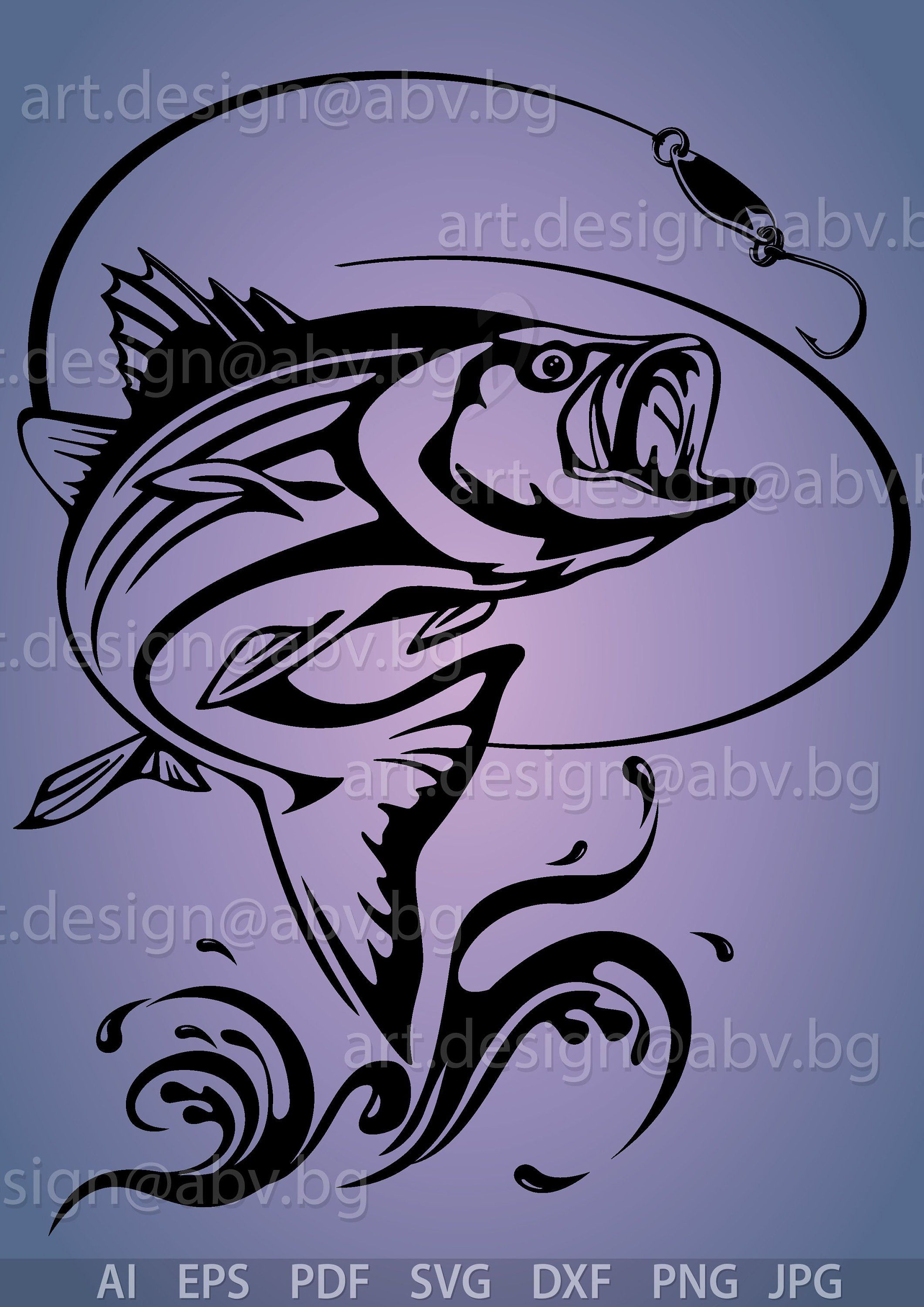 Download Vector Fish Striped Bass Ai Eps Pdf Png Svg Dxf Jpg Etsy In 2021 Graphic Image Striped Bass Fish On A Hook
