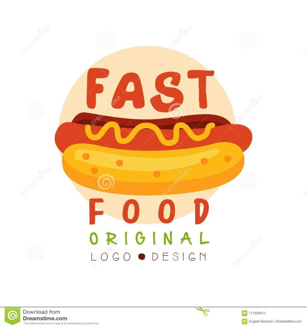 Fast Food Logo Original Design Badge With Hot Dog Sign Fast Food Menu Vector Illustration On A White Background St Fast Food Logos Logo Food Food Logo Design