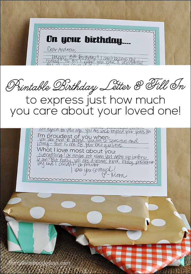 Printable Birthday Letter  Birthday Ideas Birthday Gifts And