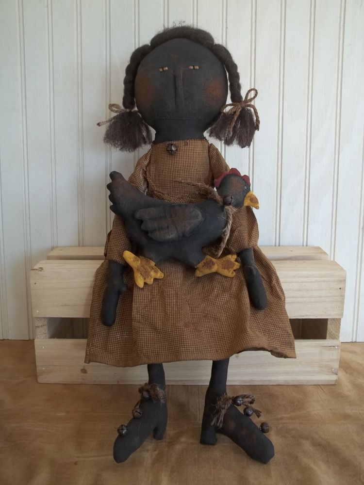 Primitive Grungy Rosalie Black Girl Doll with Her Chicken