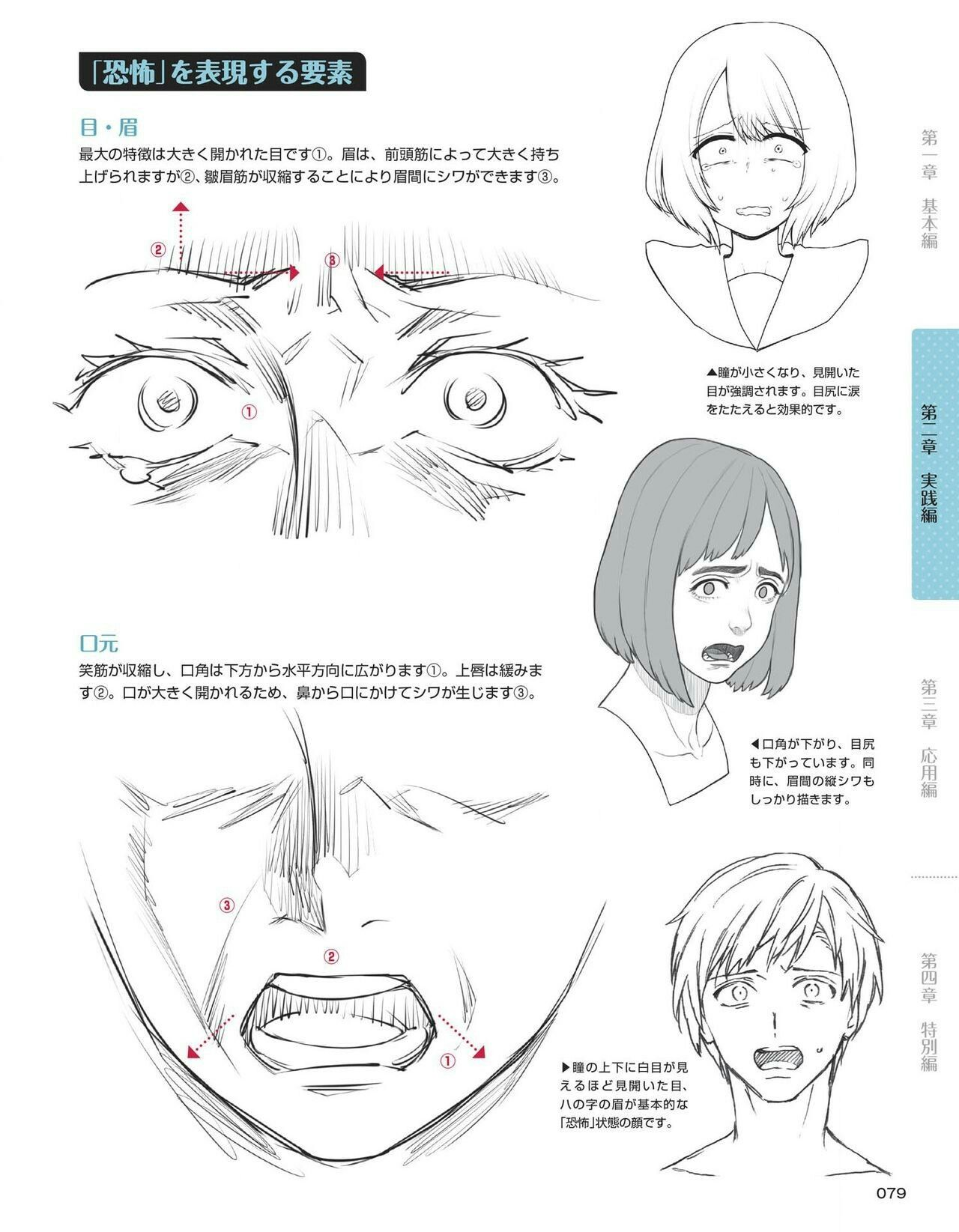 Scared shocked expressions faces anime | Drawing ...