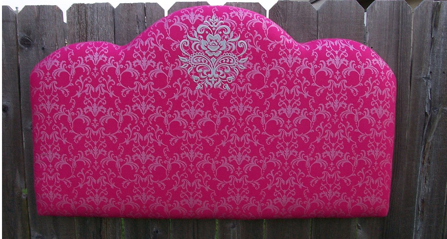 Twin Size Upholstered Headboard Hot Pink Damask By Thejeanslady