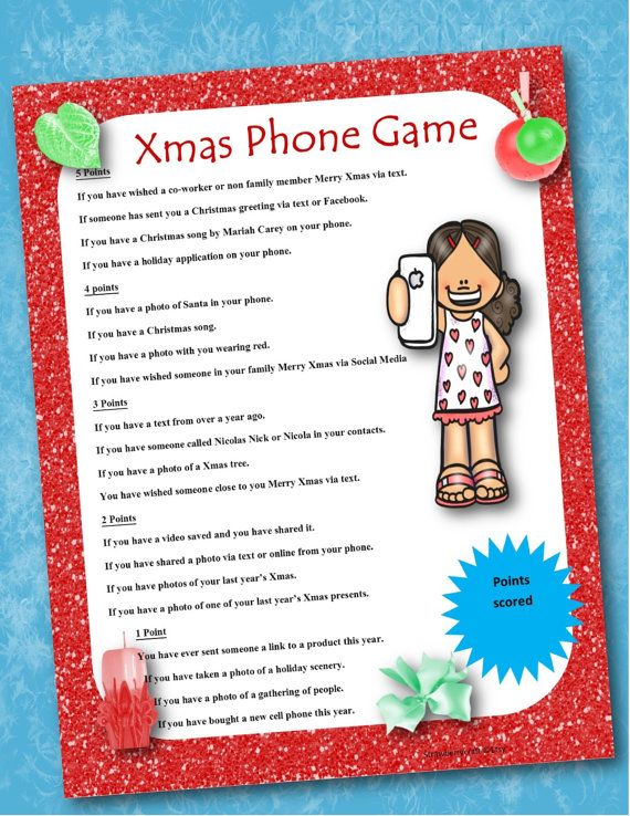 Christmas Phone Game Christmas Party Game by