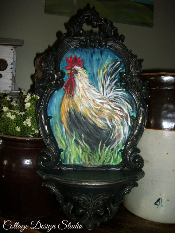 French country rooster painting, farmhouse rooster decor, rooster ...