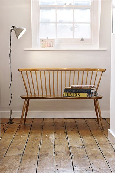 Ercol mid century love seat, I love the simplicity and practicality of this bench. No nonsense.