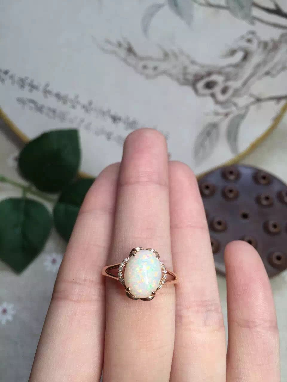 fine jewelry 18k perfact natural gold opal ring for women wedding ...