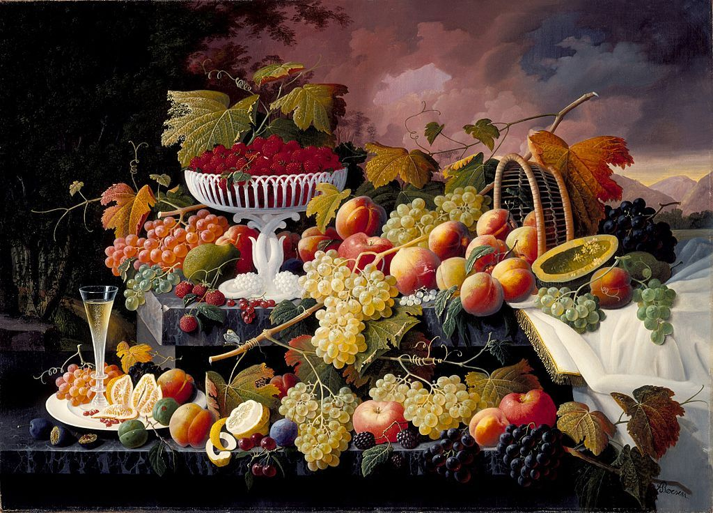 """c.1862-1872 - """"Fruit Still Life in a Landscape"""" / oil on canvas / 39.3″ x 50.5″ / by Germany-born painter Severin Roesen (1815-1872) ~known for abundant fruit and flower still life paintings The collection of the Los Angeles County Museum of Art"""