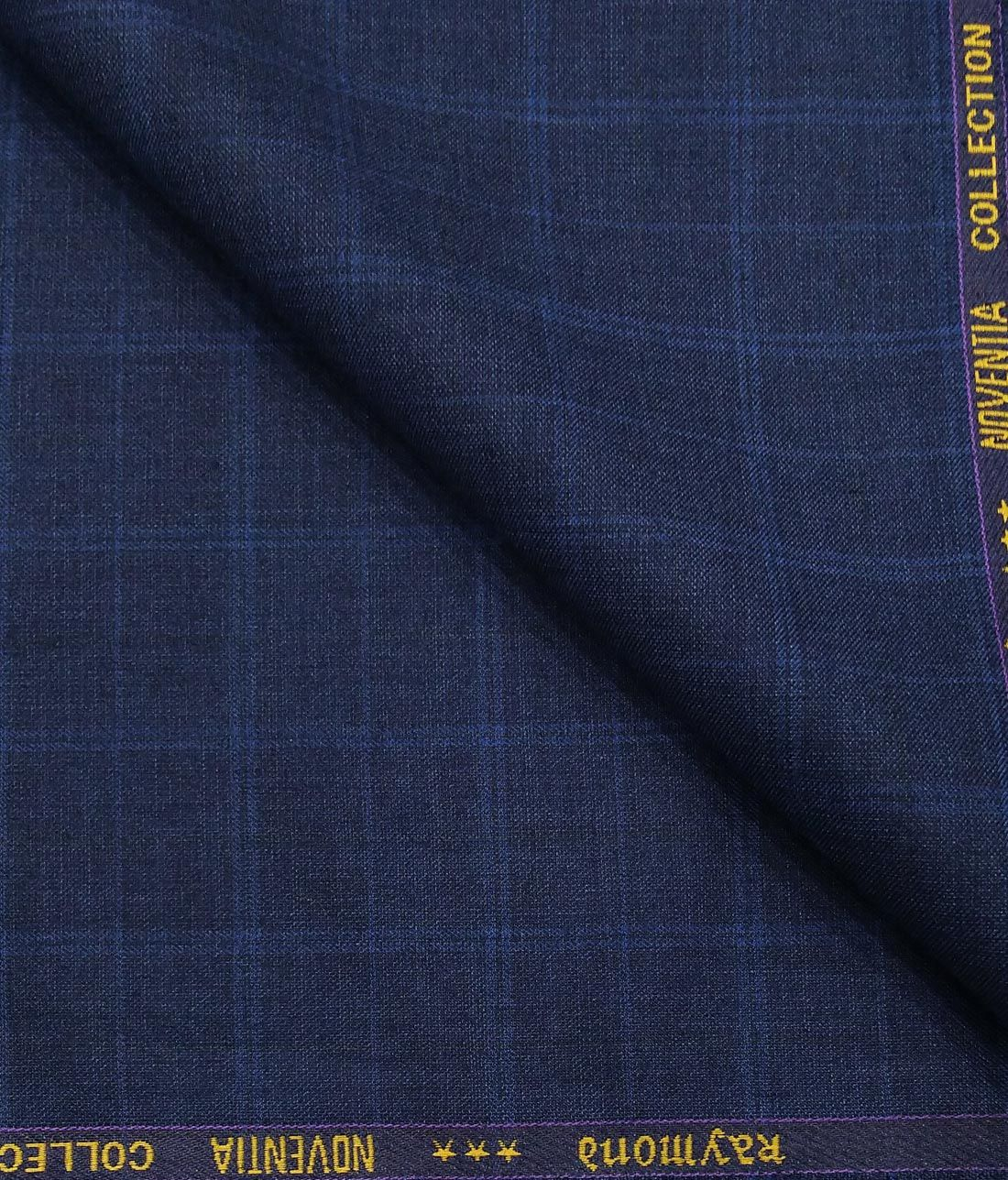 65f0085e7 Combo of Raymond Dark Blue Broad Checks Trouser Fabric With Exquisite White  Cotton Blend Structured Shirt Fabric (Unstitched)