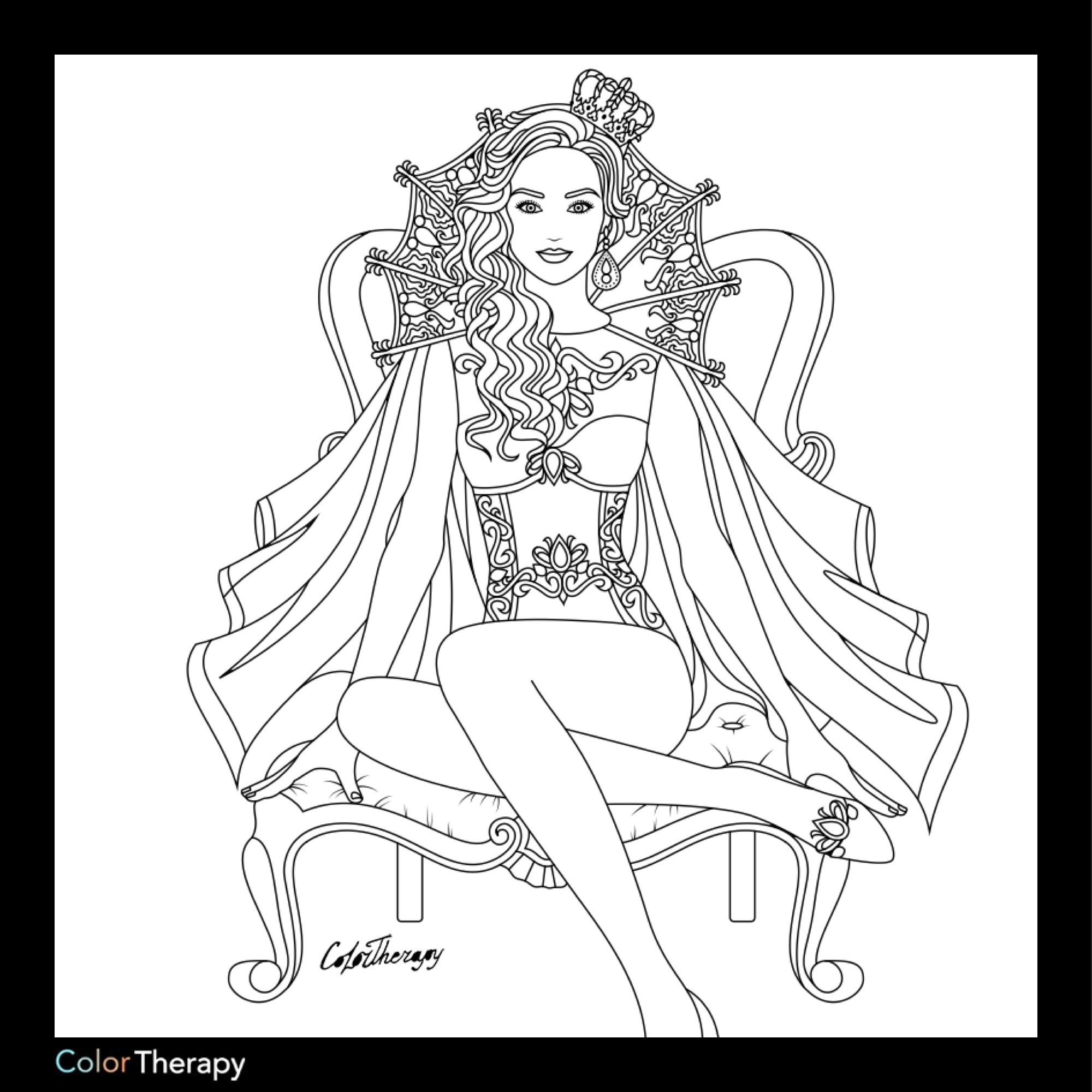 Beauty Queen Coloring Page Mermaid Coloring Pages Princess
