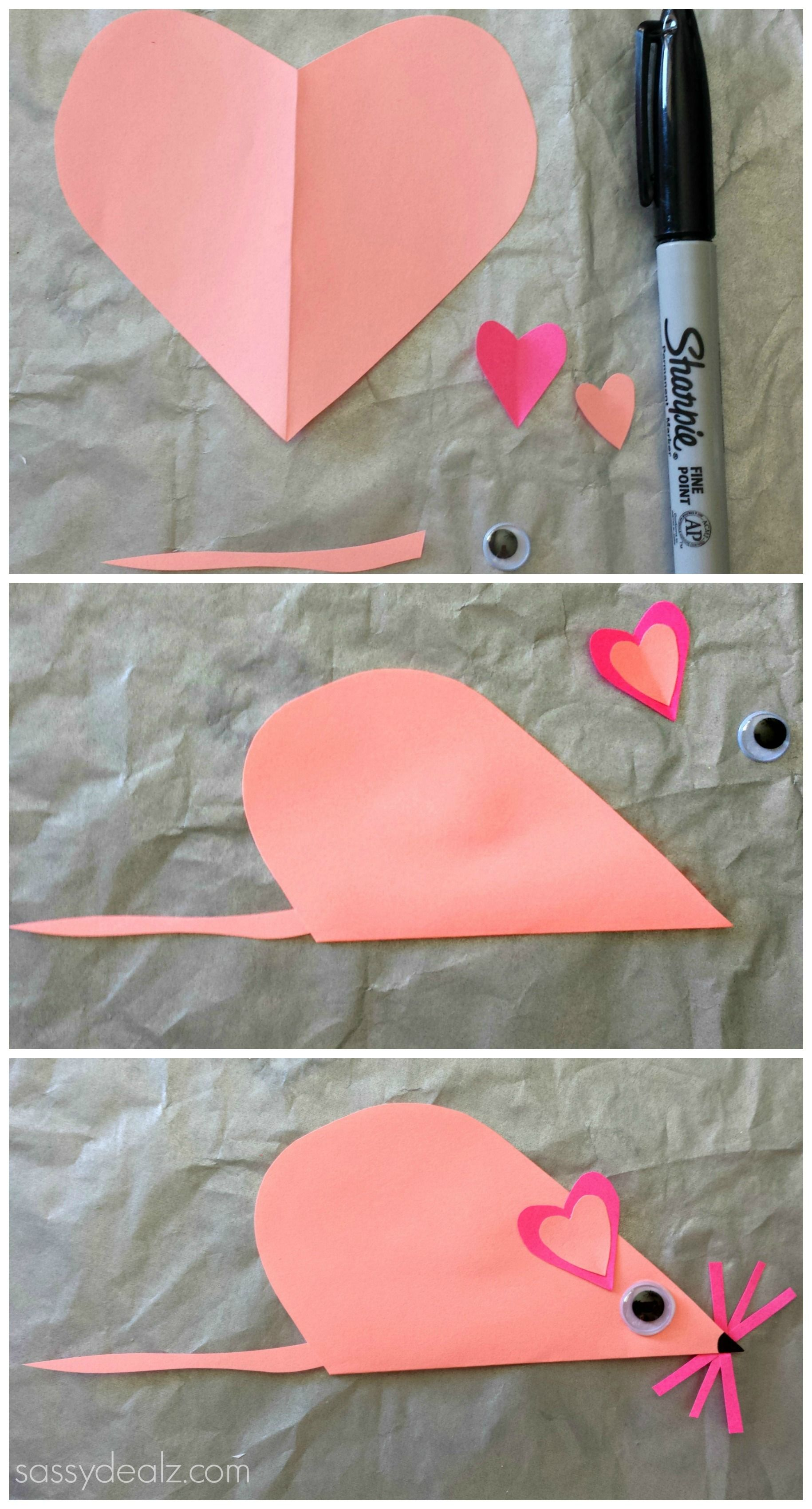 Valentine love bug craft - Folded Heart Mouse Craft For Kids
