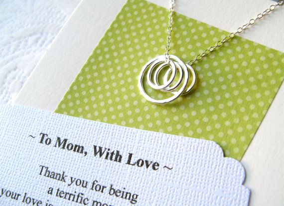 MOM Necklace - POEM CARD Included Jewelry for Mom Sterling Silver Gift Wrapped Representing a Mother and Her Children  Family Classic