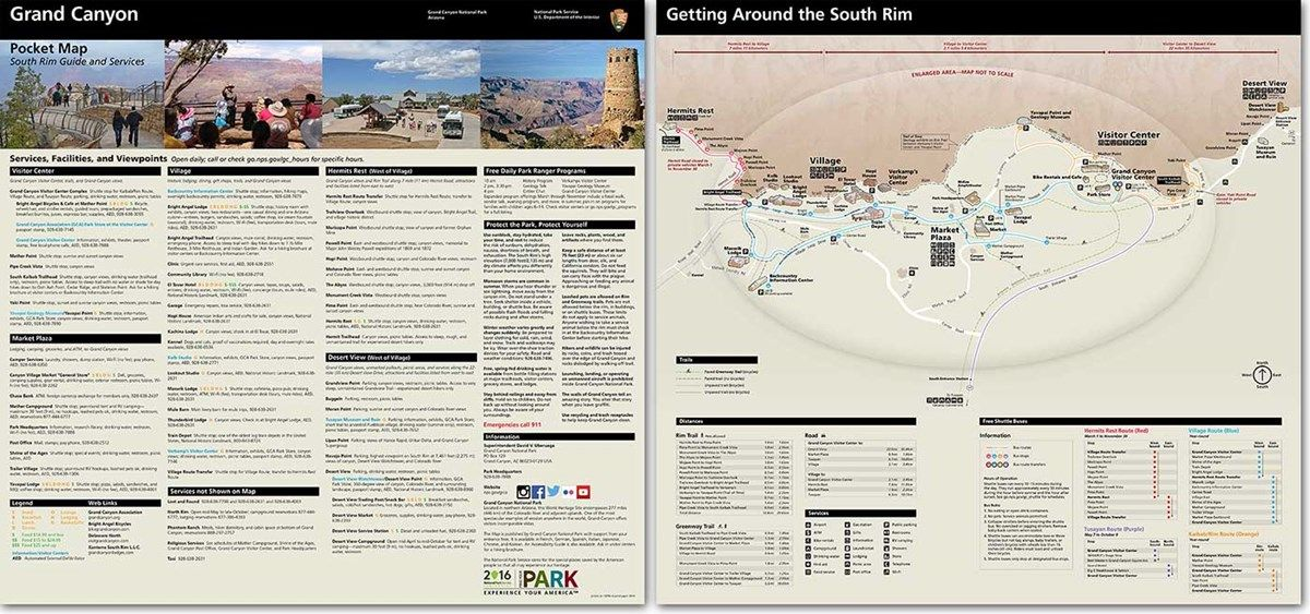 Photo Showing Front And Back Sides Of South Rim Guide Map