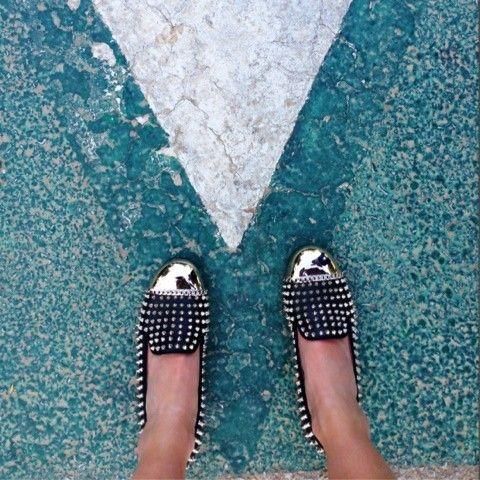 studded metallic loafers