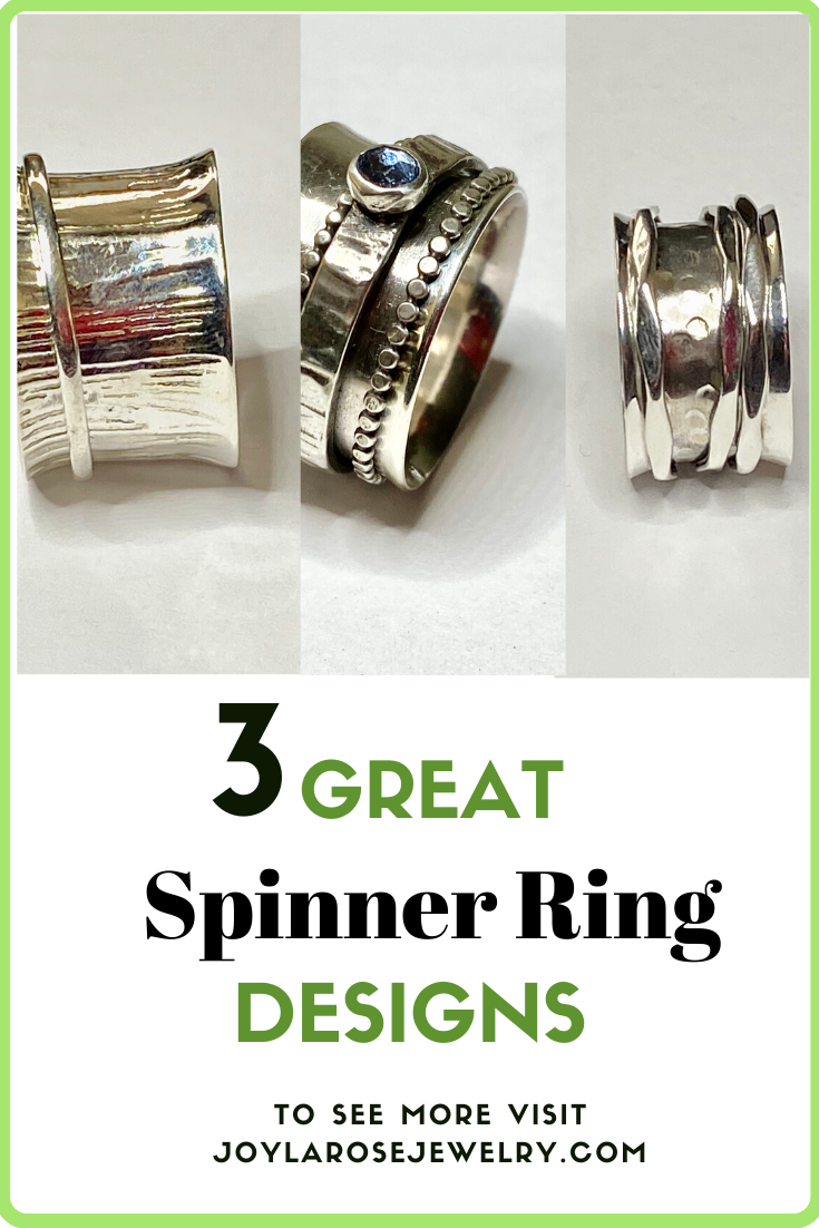 Spinner Ring Designs / Sterling Silver Rings / Gemstone Jewelry / Gifts for Women. Visit Joylarosejewelry.com for more design choices.  #Handmadejewelry #etsy #silverrings #uniquejewelry  #riogrande #silversmith #spinnerrings