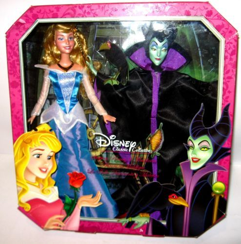 DISNEY-CLASSIC-COLLECTION-Dornroeschen-Aurore-Maleficent-Puppe-MATTEL-L