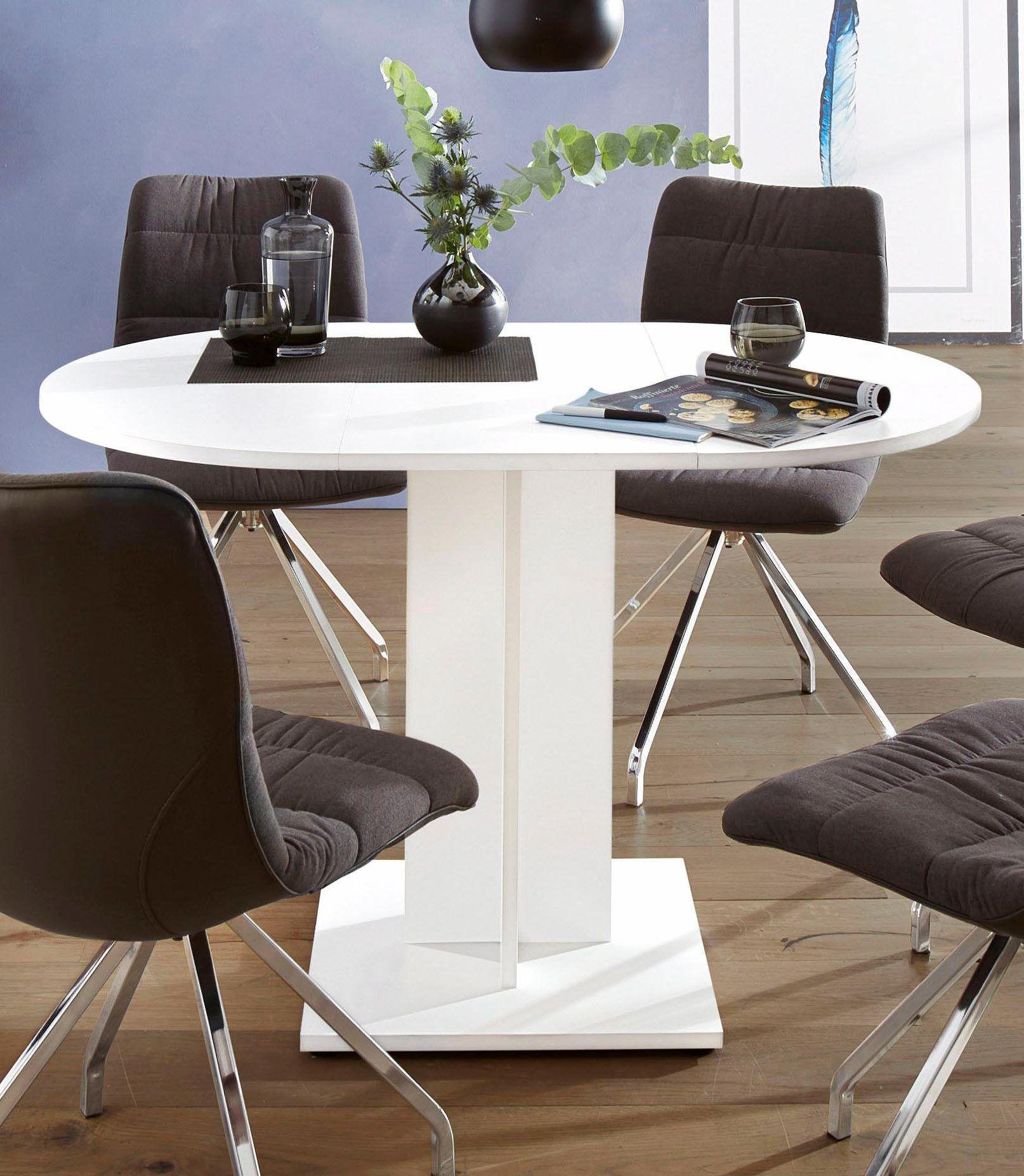 Weiße, Runde Tisch Und Stühlen, Kleinem Runden Esstisch