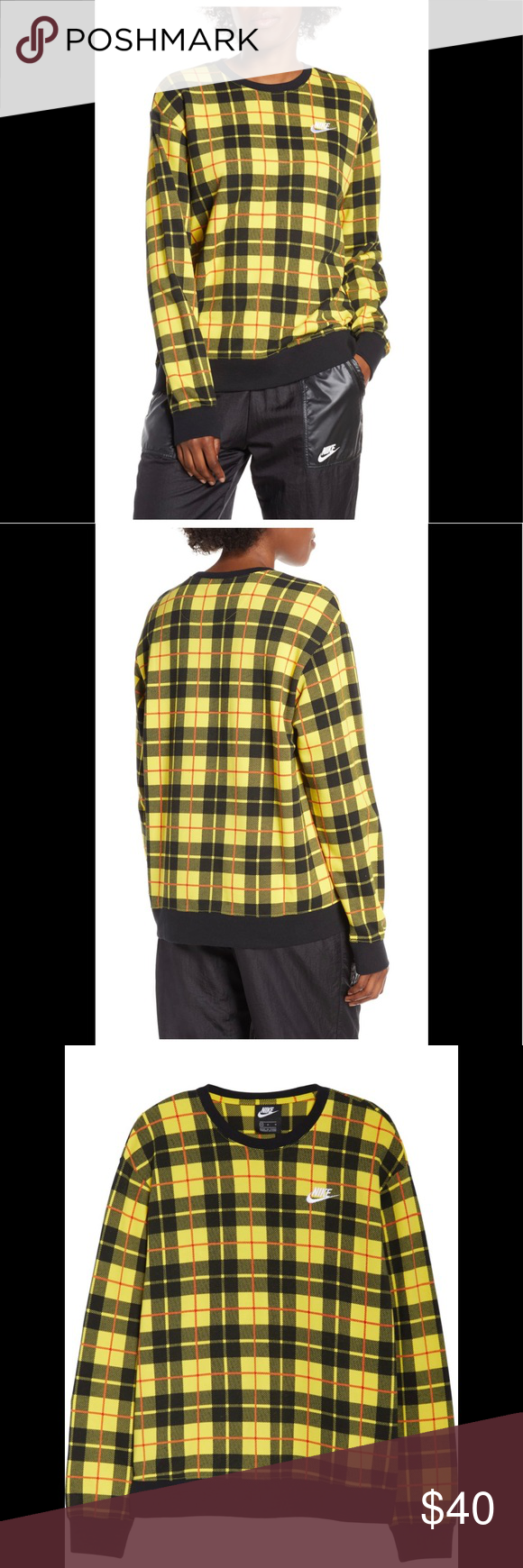Nwt Nike Plaid Crewneck Sweatshirt Size M Crew Neck Sweatshirt Long Sleeve Sweatshirts Sweatshirts [ 1740 x 580 Pixel ]