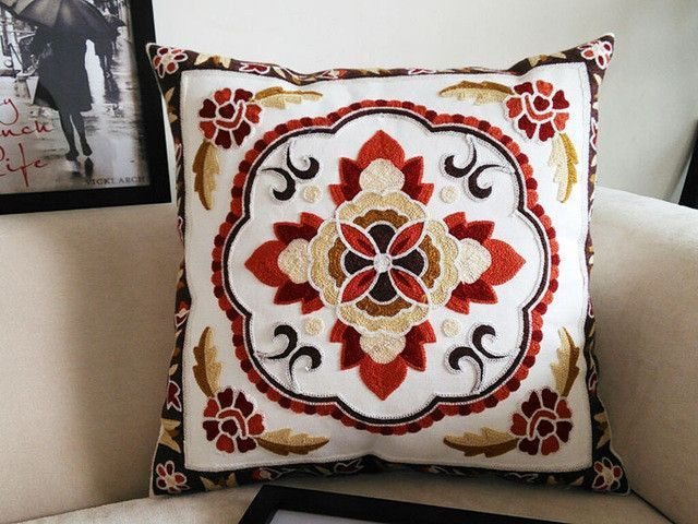 Cotton Canvas Embroidery Flowers Pillow Cushion /Decorative Sofa Cushion Cover