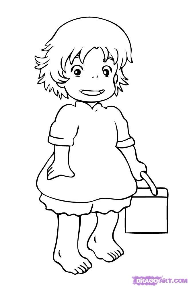 Ponyo Printable تلوين Coloring Pages Hello Kitty Coloring