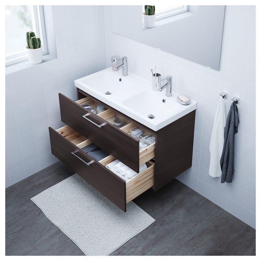 GODMORGON Sink cabinet with 2 drawers - black-brown - IKEA ...