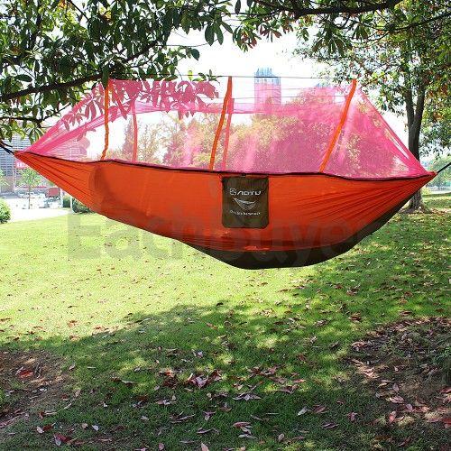Doppelte tragbare Dschungel Reisen Camping Outdoor Hängematte Fallschirm hängenden Bett Moskitonetz Orange