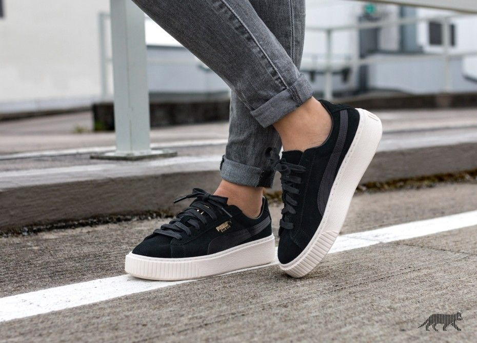 e85fb6994694 Puma Suede Platform Mono Satin (Puma Black   Whisper White   Puma Team Gold)