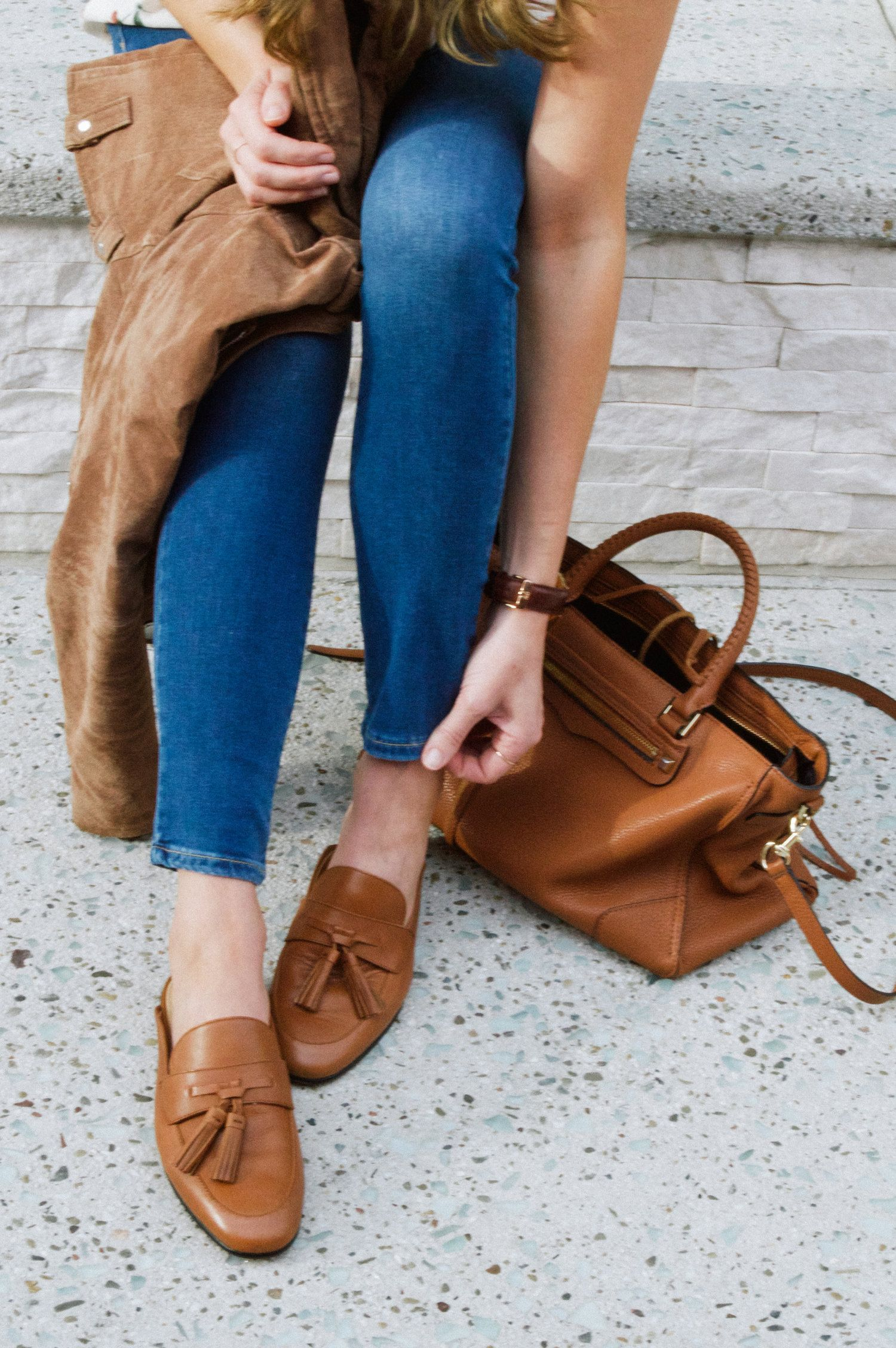 a19f6b72f3a Brown leather mules outfit. Backless loafers. Tassel mules. Tassel loafers.  Classic style outfit. Neutral style. Shoes for spring. Spring flats
