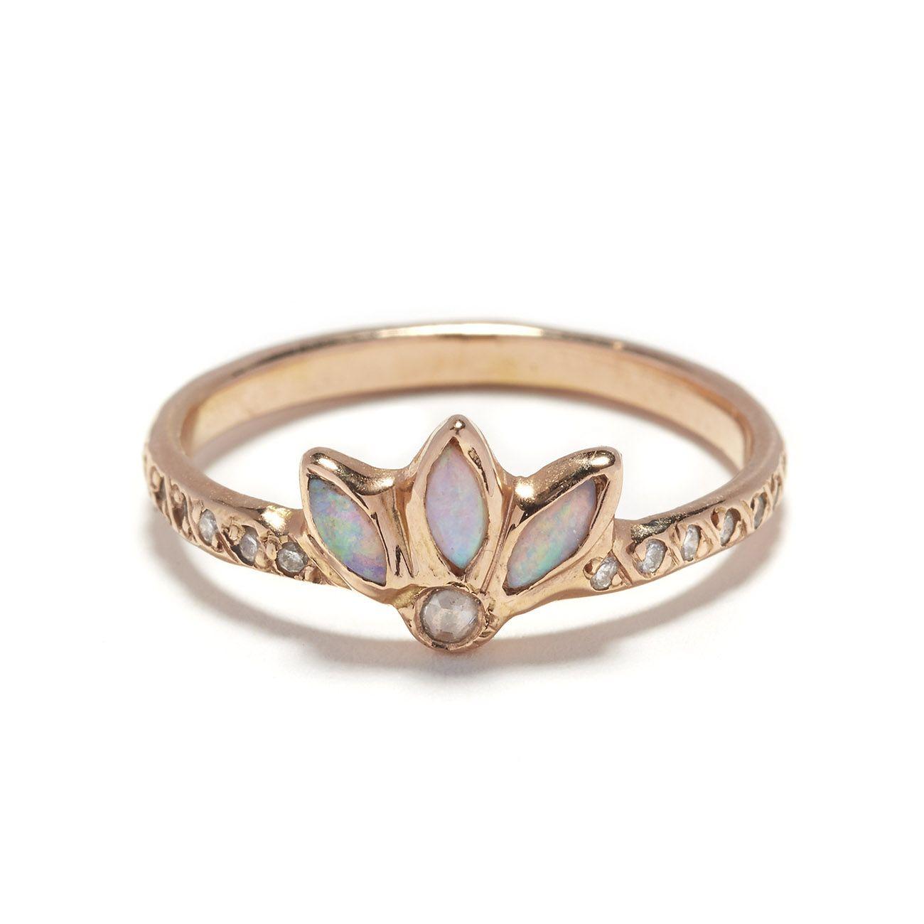 Elisa Solomon Jewelry 18 Karat Pink Gold Magic Flower Ring With Opal