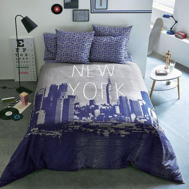 housse de couette imprimée new york, wood la redoute | textil bed