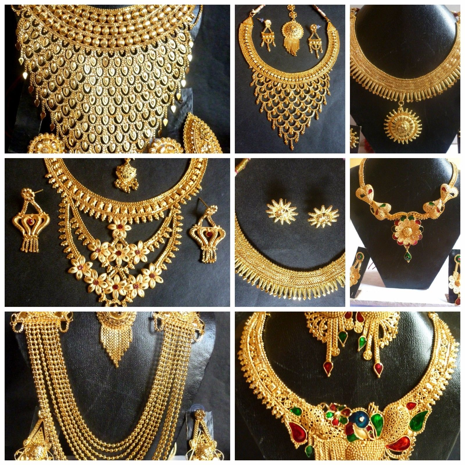 Indian Bridal Necklace Set 22k: Indian 22K Gold Plated Wedding Necklace Earrings Jewelry