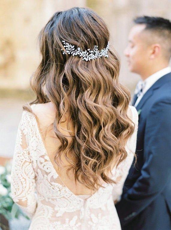 Boho Bridal Back Headpiece Bridal Halo Boho Wedding Pearl | Etsy