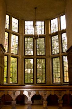 a huge bank of windows highlight this section of the mansion at ridley creek state park