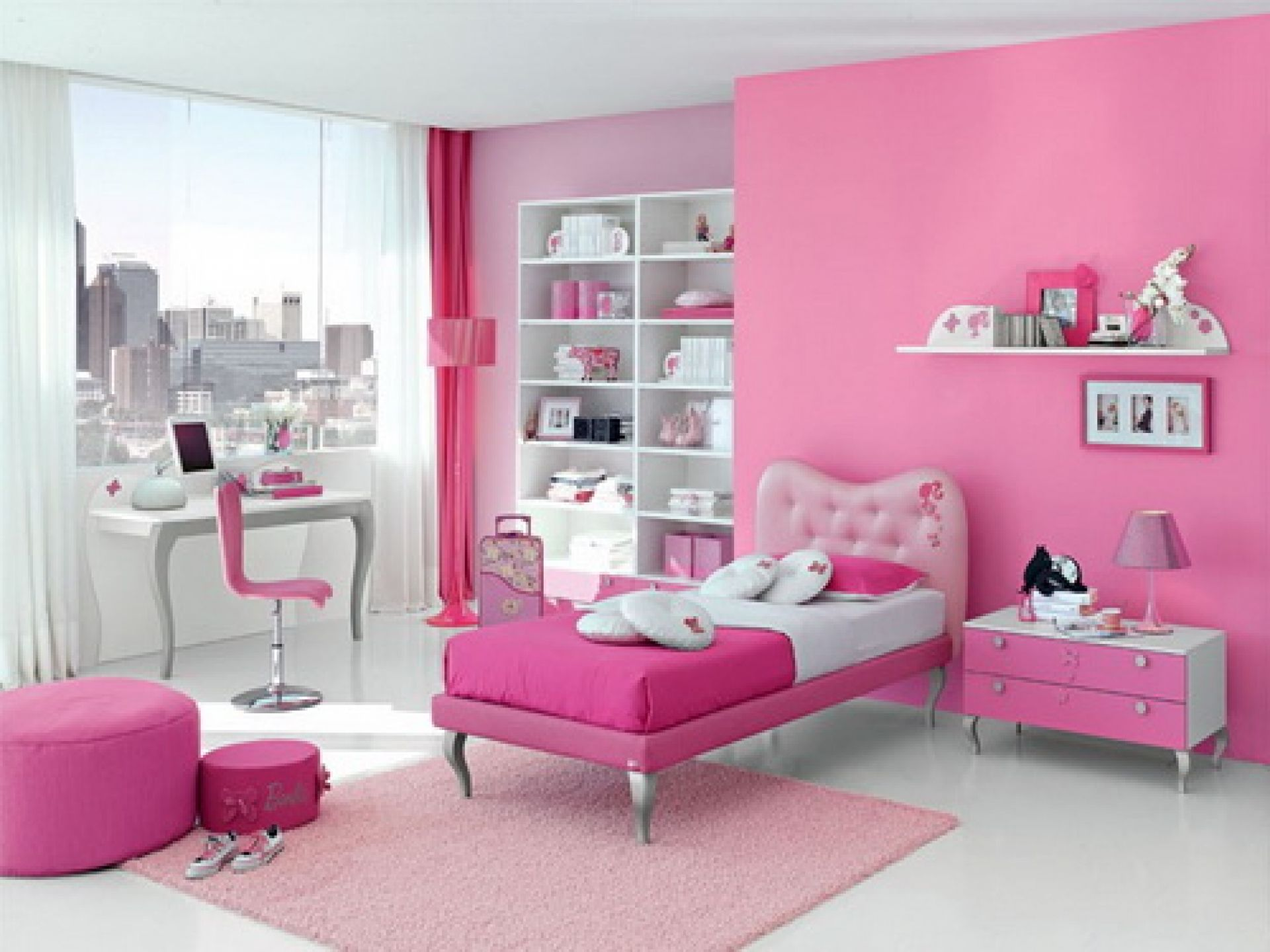 bedroom, pink wall paint decoration glass curtain walls student
