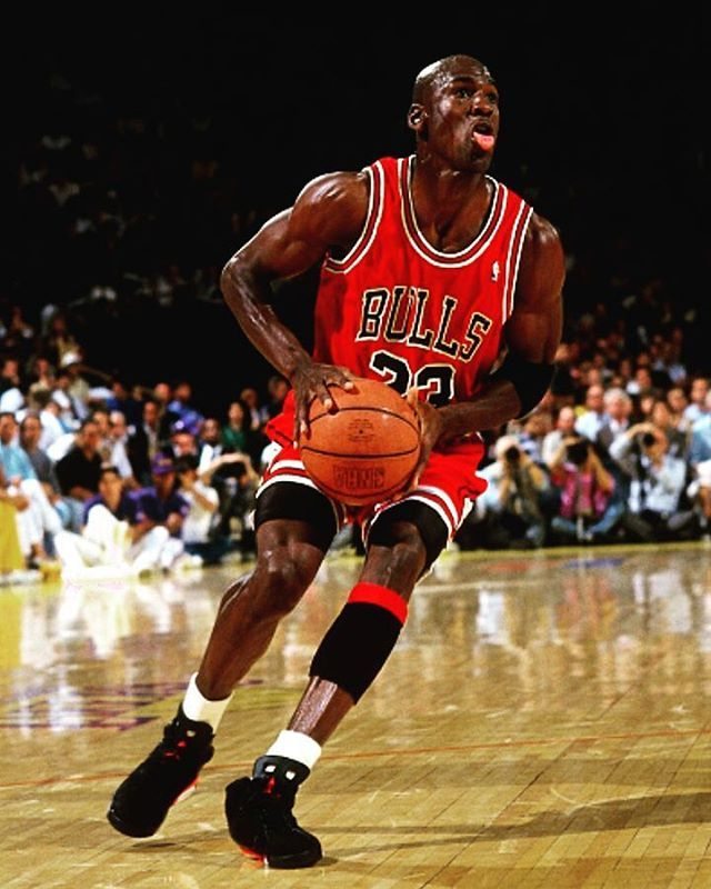 3c3da6ce5f1 MJ wearing the Black Infrared Air Jordan 6. During the 1991 NBA Finals  against the Lakers.