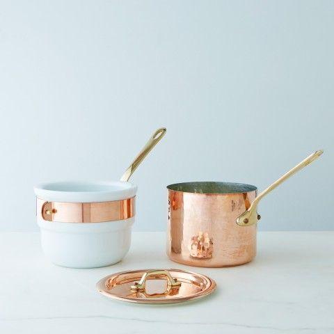 Mauviel Copper & Porcelain Bain Marie, 1.6 QT