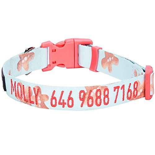 PINK dog/cat collar with embroidered name Lucy