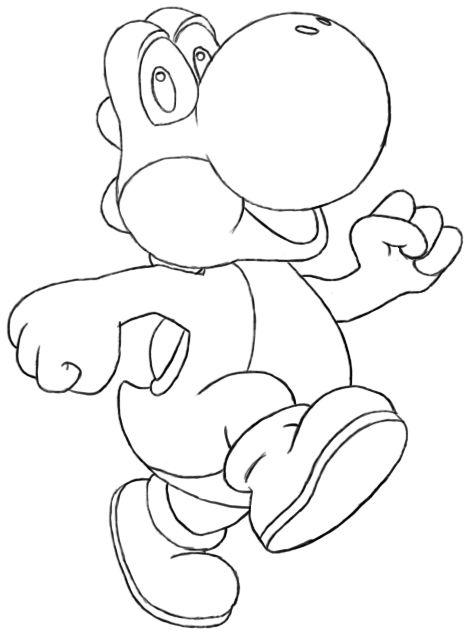 How To Draw Yoshi Yoshi Drawing Coloring Pages Cartoon Tutorial