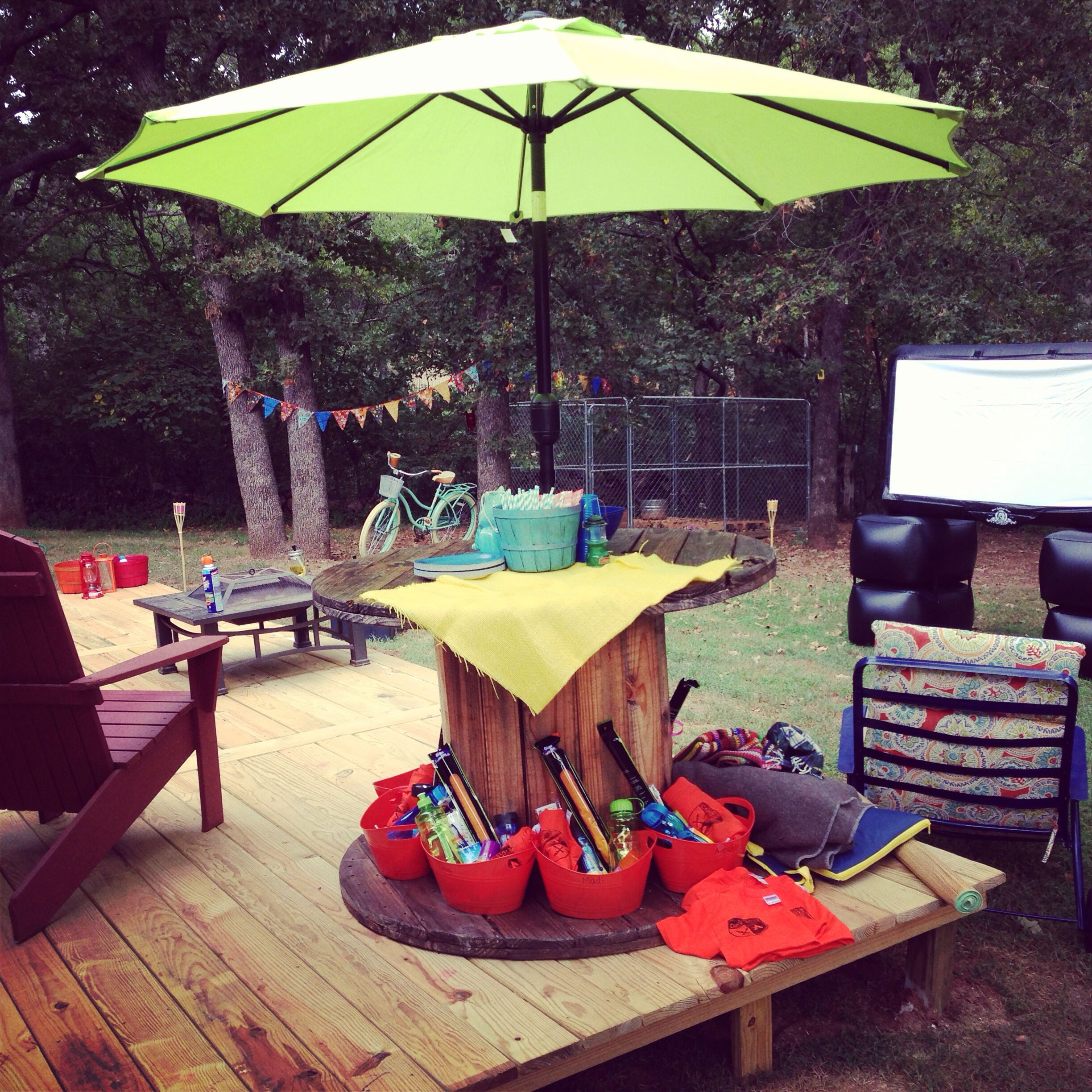 spool table camping party decorations made this pinterest