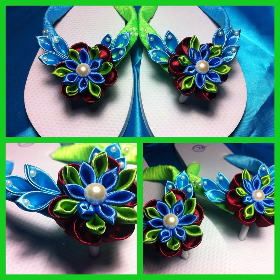 Blue and green kanzashi flowers on thongs flip flops. | Proyectos ...