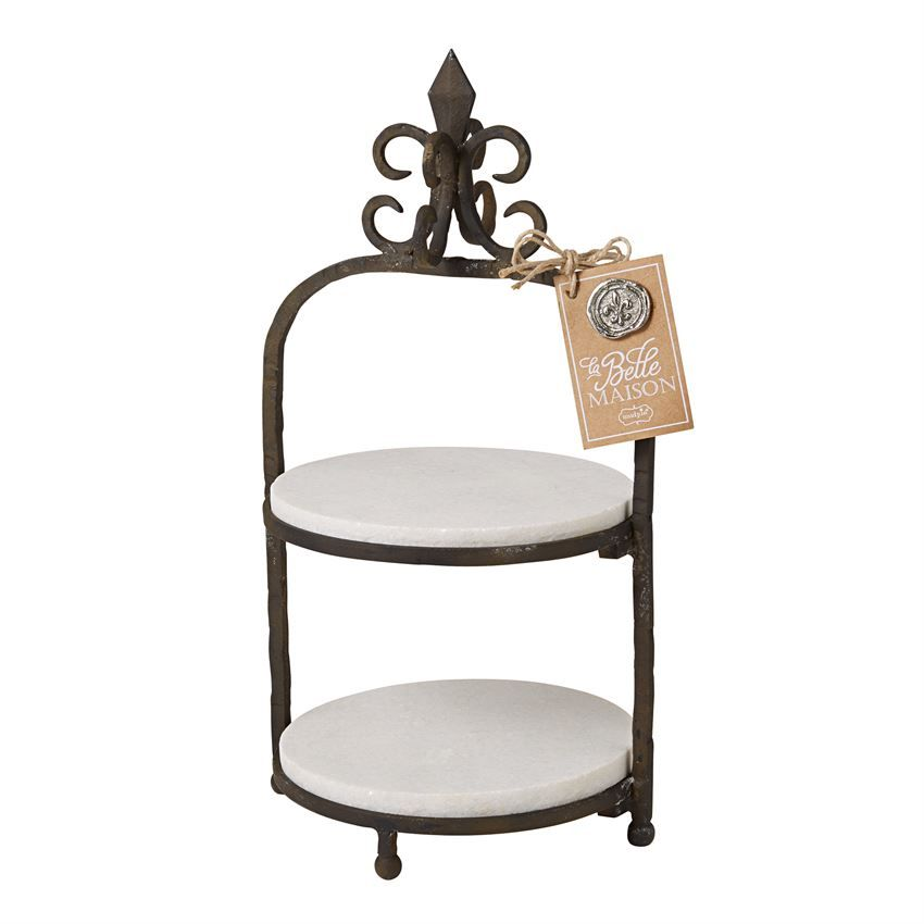 2-tiered cast iron finish metal plate stand features two  sc 1 st  Pinterest & 3-piece set. 2-tiered cast iron finish metal plate stand features ...