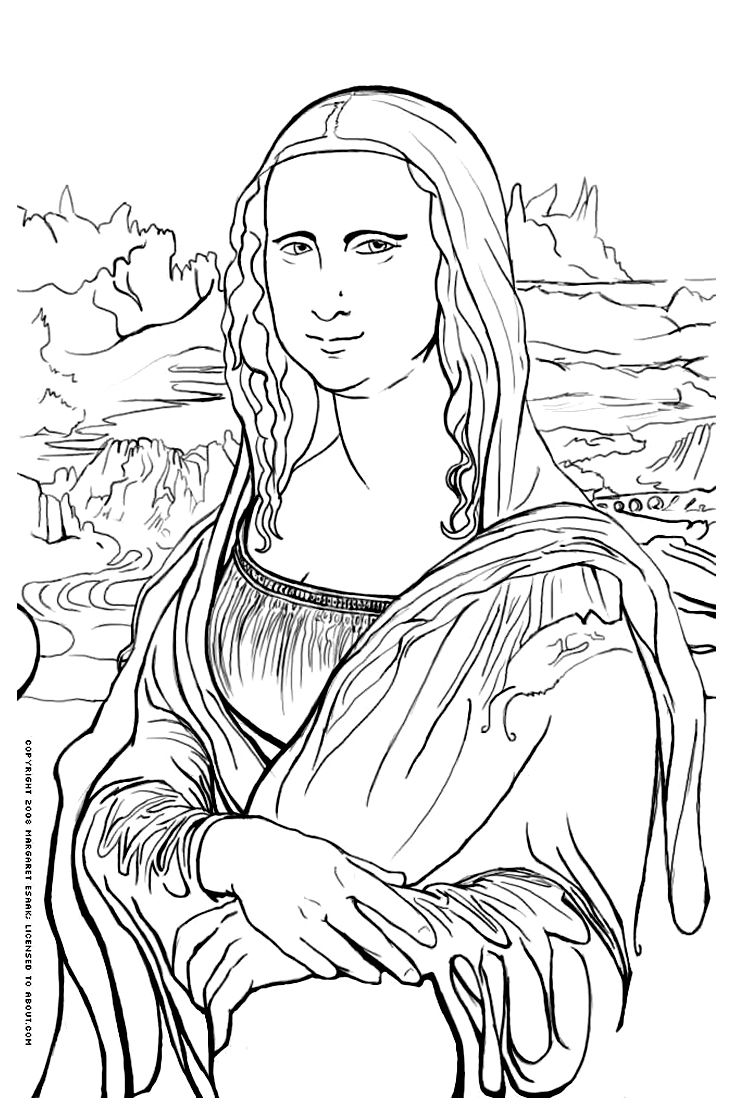 Free coloring page coloringmonalisa The famous Mona Lisa Mona